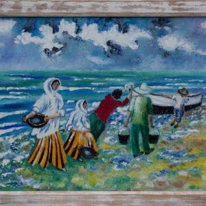 "Visservrouwen Olieverf op linnen - 70 x 100 cm Foto door <a href=""http://peetography.nl"" target=""_blank"">Peetography.nl</a>"