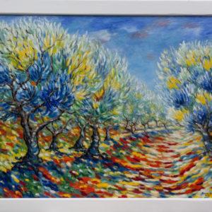 "Olijvenboomgaard Olieverf op linnen - 80 x 100 cm Foto door <a href=""http://peetography.nl"" target=""_blank"">Peetography.nl</a>"