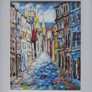 """Straatje in Rouen Olieverf op linnen - 24 x 30 cm Foto door <a href=""""http://peetography.nl"""" target=""""_blank"""">Peetography.nl</a>"""