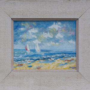 "Zeilbootjes in Normandië 1 Olieverf op linnen - 18 x 24 cm Foto door <a href=""http://peetography.nl"" target=""_blank"">Peetography.nl</a>"