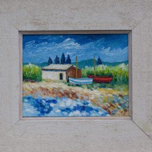 "Twee bootjes op het droge Olieverf op linnen - 18 x 24 cm Foto door <a href=""http://peetography.nl"" target=""_blank"">Peetography.nl</a>"