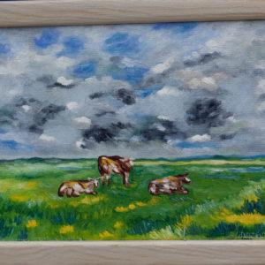 "Koeien Normandië Olieverf op linnen - 18 x 24 cm Foto door <a href=""http://peetography.nl"" target=""_blank"">Peetography.nl</a>"