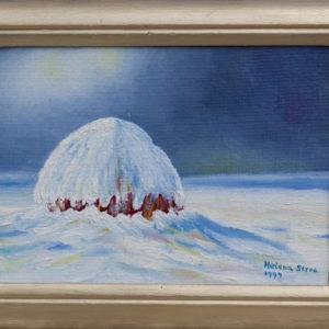 "Hooiberg in de winter Olieverf op linnen - 13 x 18 cm Foto door <a href=""http://peetography.nl"" target=""_blank"">Peetography.nl</a>"