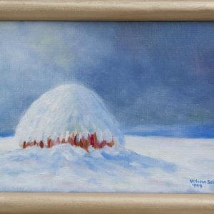"Hooiberg in de sneeuw Olieverf op linnen - 13 x 18 cm Foto door <a href=""http://peetography.nl"" target=""_blank"">Peetography.nl</a>"