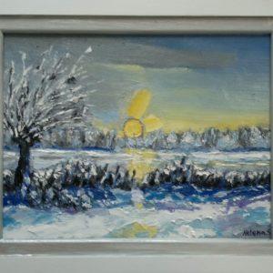 Besneeuwde zonsondergang op Walcheren olieverf op linnen - 24 x 30 cm