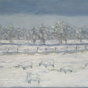 Vijf schapen in de sneeuw op Walcheren Olieverf op linnen - 18 x 24 cm