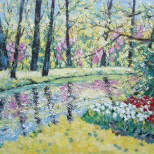 Bos in bloei langs het water Olieverf op linnen - 50 x 70