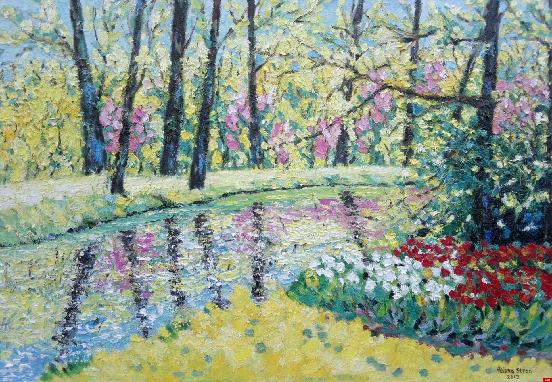 Bos in bloei langs het water