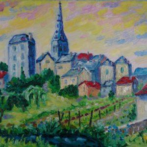 La Châtre late namiddag Olieverf op linnen - 23 x 33 cm