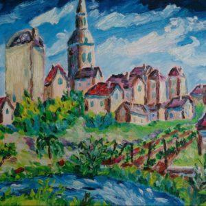 La Châtre middagzon Olieverf op linnen - 24 x 33 cm