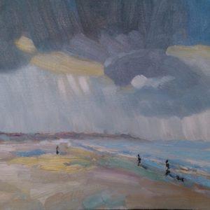 Strand Walcheren, effecten weersomslag Olieverf op paneel - 24 x 30 cm