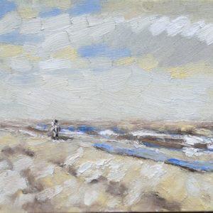 Strand en zeegezicht Katwijk lente 2013  1 Olieverf op linnen - 24 x 30 cm