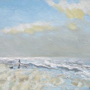 Strand en zeegezicht Katwijk lente 2013  2 Olieverf op linnen - 24 x 30 cm