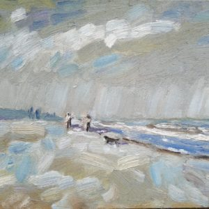 Strand en zeegezicht Katwijk lente 2013  3 Olieverf op linnen - 24 x 30 cm