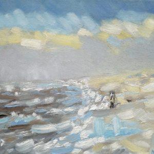 Strand en zeegezicht Katwijk lente 2013  4 Olieverf op linnen - 24 x 30 cm