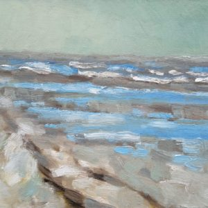 Strand en zeegezicht Katwijk lente 2013  5 Olieverf op linnen - 24 x 30 cm
