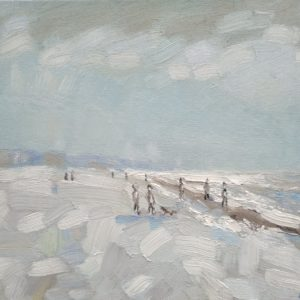 Strand en zeegezicht Katwijk lente 2013  7 Olieverf op linnen - 24 x 30 cm