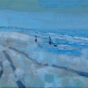 Strandwandeling Walcheren Olieverf op linnen - 18 x 24 cm