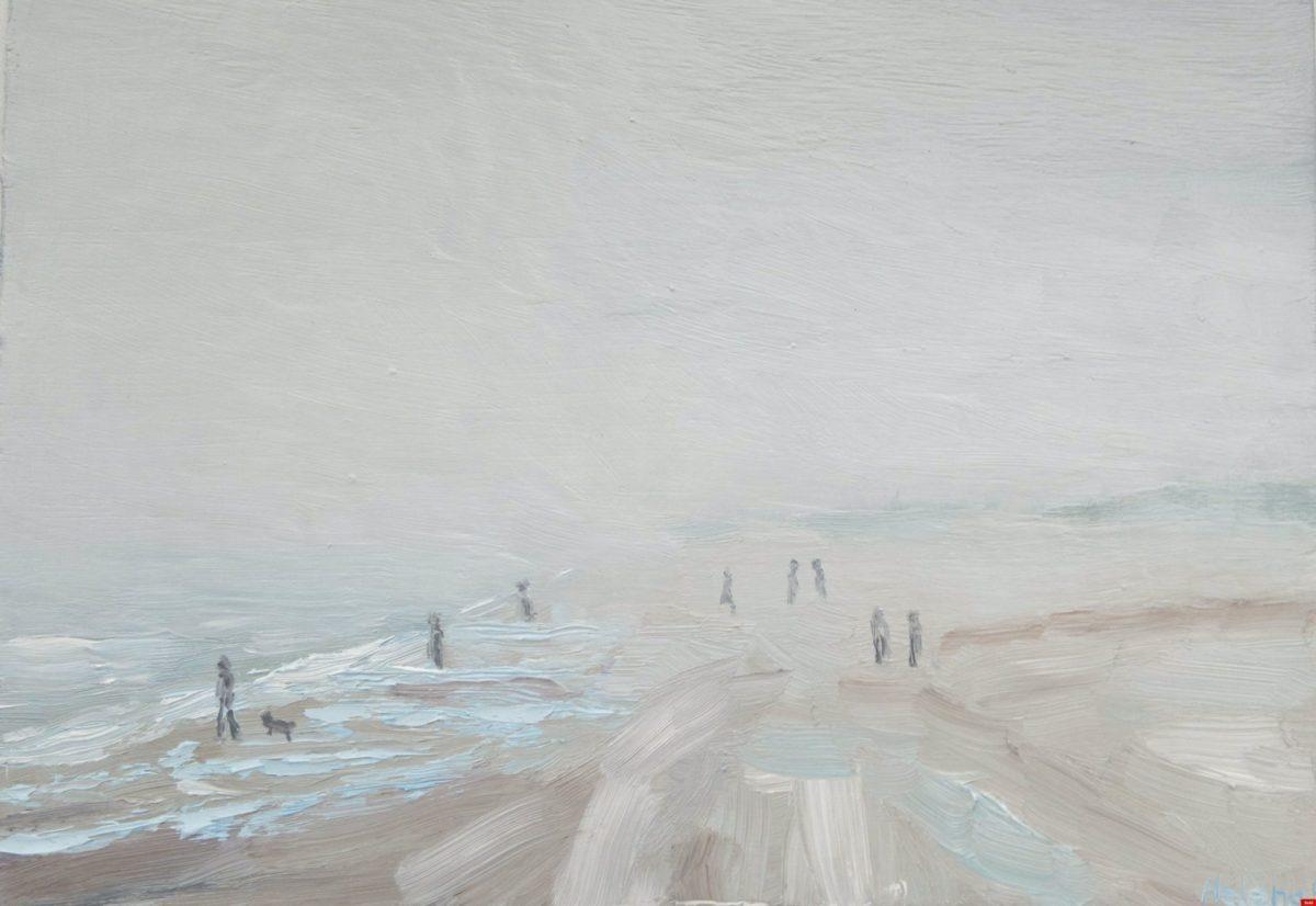 Zeemist op strand van Walcheren