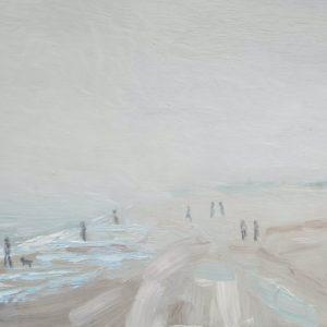 Zeemist op strand van Walcheren Olieverf op paneel – 19 x 26 cm