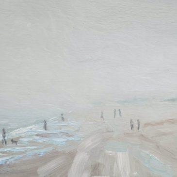 Zeemist op strand van Walcheren, Zon breekt door op het strand van Walcheren