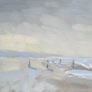 Zon breekt door op strand van Walcheren Olieverff op paneel – 19 x 26 cm