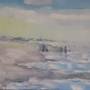 Zeeuws strand, opkomende vloed Olieverf op paneel - 24 x 30 cm