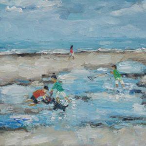 Krabbenzoekers langs het strand Olieverf op linnen - 24 x 30 cm