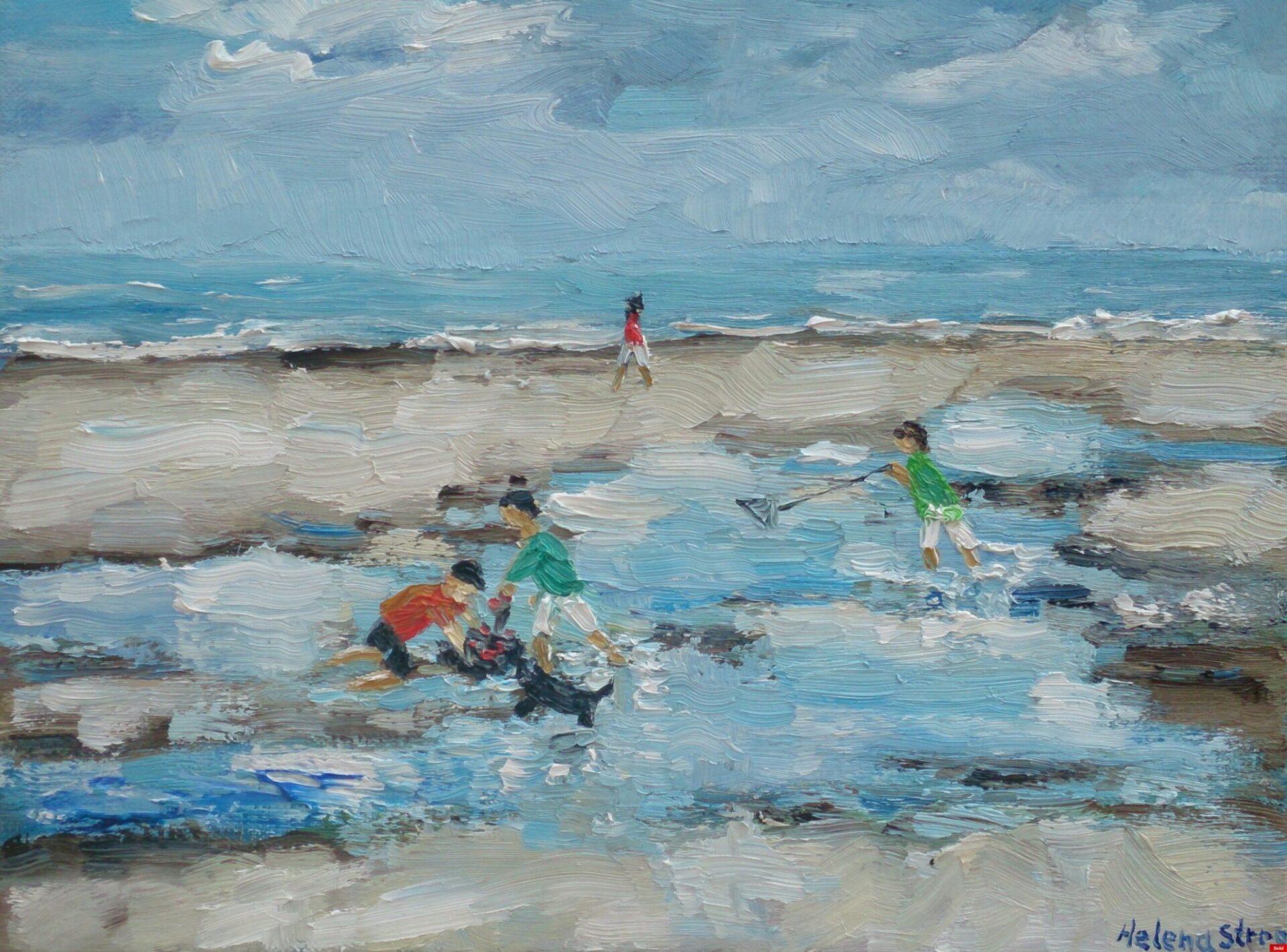 Krabbenzoekers langs het strand