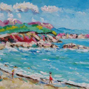 Plage d'Arone Corsica Olieverf op linnen 30 x 40 cm