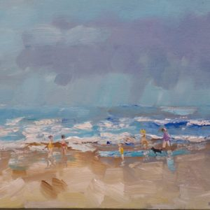 Strandwandeling langs de vloedlijn Olieverf op linnen - 24 x 30 cm