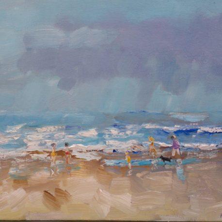Strandwandeling langs de vloedlijn