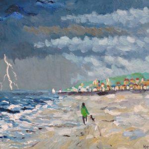 Strand Trouville met naderend onweer Olieverf op linnen 24 x 30 cm