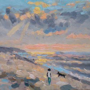 Avondzon strand bij Westkapelle Olieverf op linnen -  24 x 30 cm