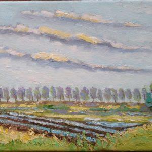 Polders in Zeeuws-Vlaanderen 2 Olieverf op linnen - 24 x 30 cm