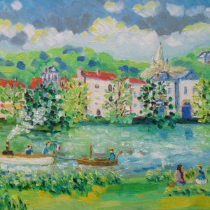 Seine bij Bougival Olieverf op linnen - 50 x 66 cm