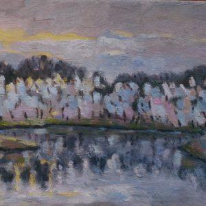 Kreek bij Veere in januari Olieverf op linnen -  24 x 30 cm