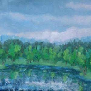 Kreek bij Veere in maart Olieverf op linnen - 24 x 30 cm