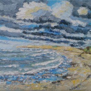 Pointe de la Torche vue plage de Tronoan Olieverf op linnen - 24 x 30 cm