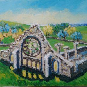 Ruïne Chapelle Languidou à Plovan Finistere 1 Olieverf op linnen - 24 x 30 cm