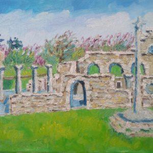 Ruïne Chapelle Languidou à Plovan Finistere 2 Olieverf op linnen - 24 x 30 cm