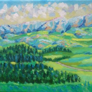 Reuzengebergte Jelenia Góra Polen Olieverf op linnen - 24 x 33 cm