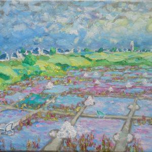 Zoutpannen Kervalet, Batz-sur-Mer Olieverf op linnen - 33 x 41 cm