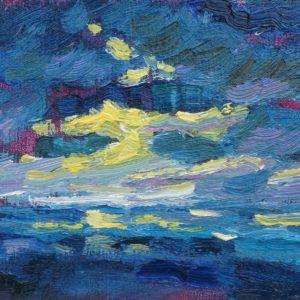 Zoutkristallen Domburg avond Olieverf of paneel - 13 x 21 cm