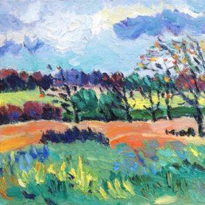 Herfstlandschap bij Tronoan Olieverf op paneel - 20 x 30 cm