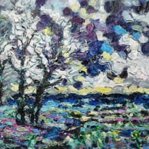 Drie bomen landschap Walcheren  Olieverf op paneel - 24 x 30 cm