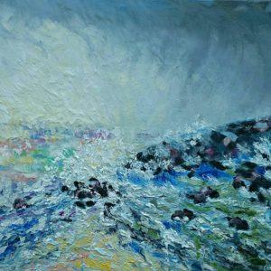Wilde zee Olieverf op linnen - 46 x 55 cm
