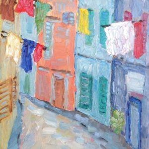 Straatje in Cassis Olieverf op linnen - 27 x 22 cm