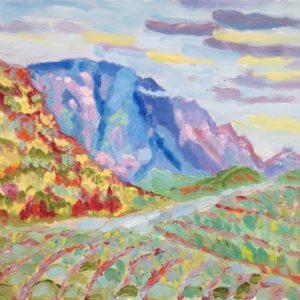 Montagne de Bluye bij Mont Ventoux Olieverf op paneel - 24 x 30 cm