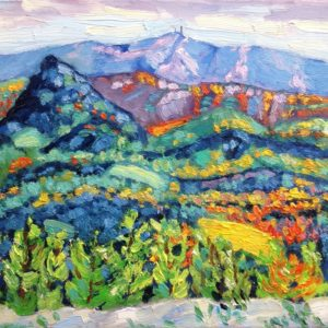 Bergen Beauvoisin, zicht op Mont Ventoux Olieverf op canvas - 24 x 33 cm